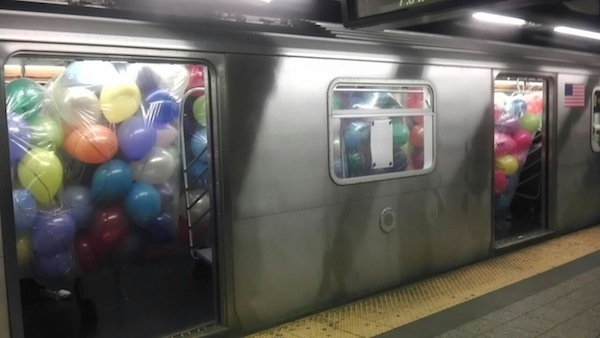 Balloons on the subway