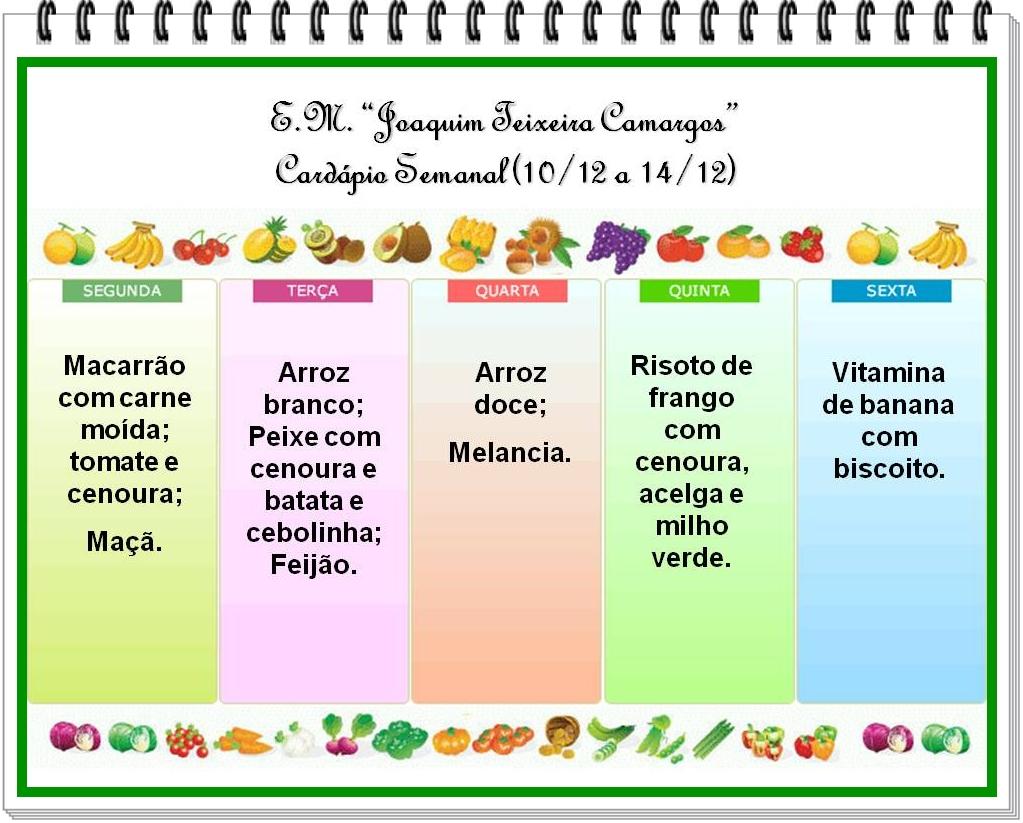 E m joaquim teixeira camargos card pio semanal de 10 a for Menus faciles y sanos