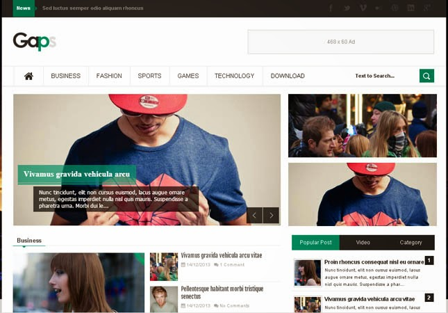 Gaps Magazine Responsive Blogger Template