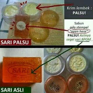 cream sari asli