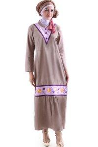 Najya Gamis J46 - Coklat Susu Tua (Toko Jilbab dan Busana Muslimah Terbaru)