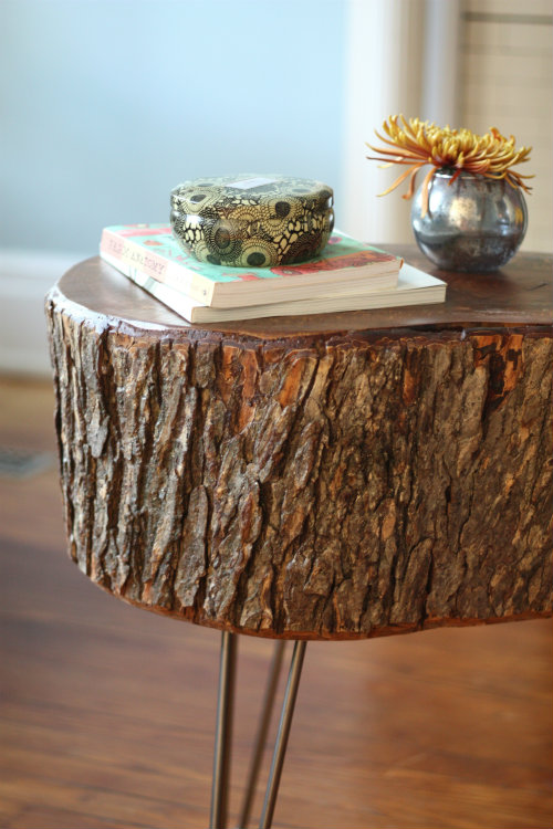 How to diy stump table 17 apart for Diy wood stump side table