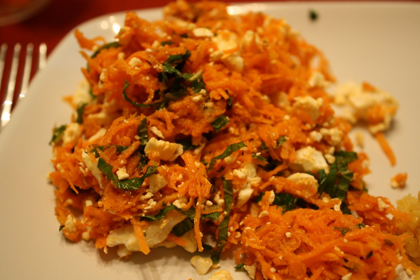 Lactose-Free Girl: Carrot Salad with Harissa, Feta and Mint