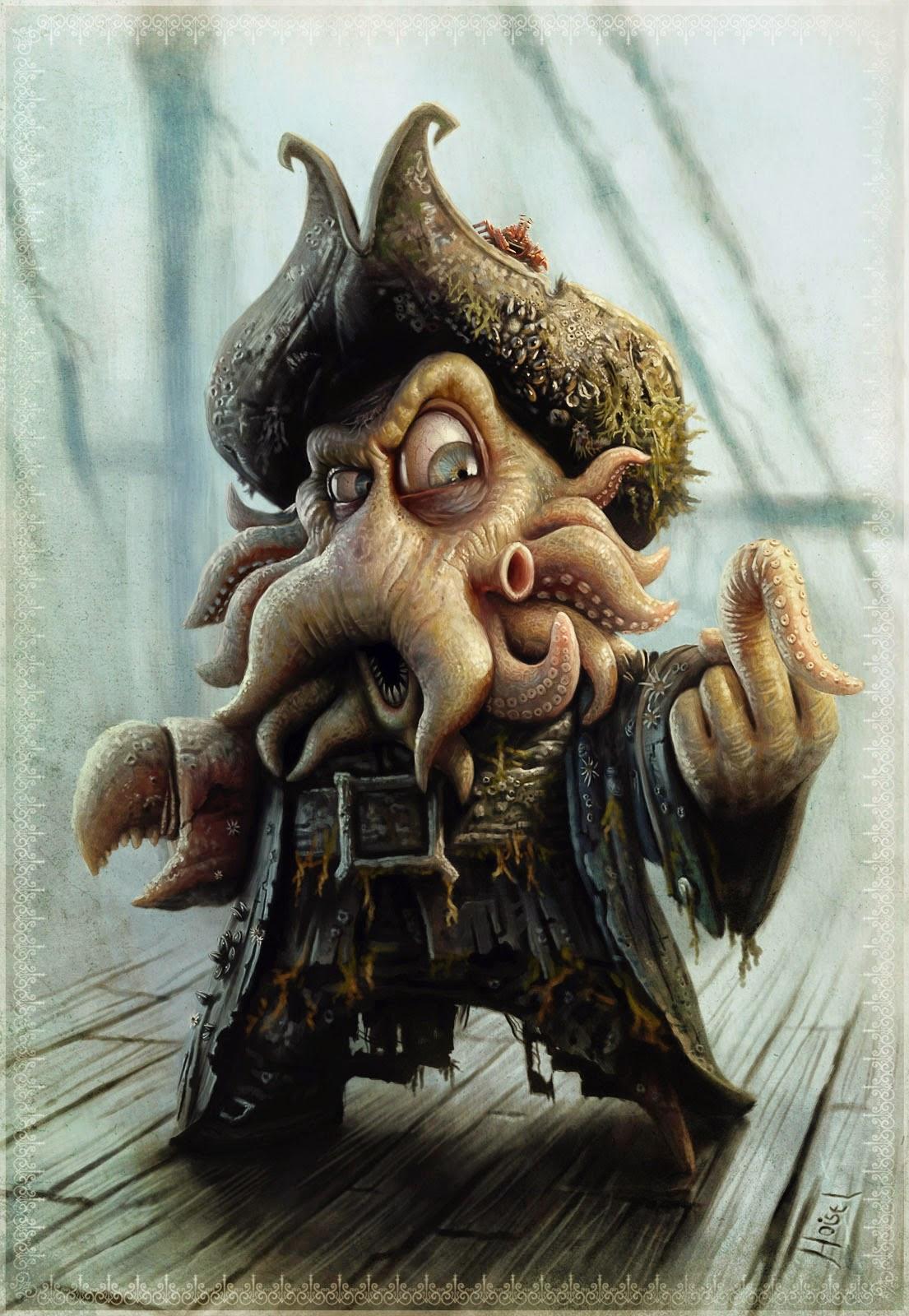 illustration de Tiago Hoisel représentant le pirate davy jones faisant un doigt tentacule d'honneur
