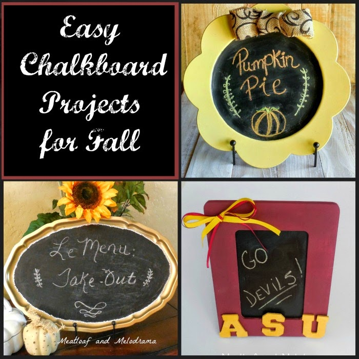 collage of chalkboard paint projects