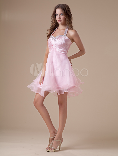 China Wholesale Homecoming Dresses - Elegant Short Pink Halter Tulle Womens Homecoming Dress