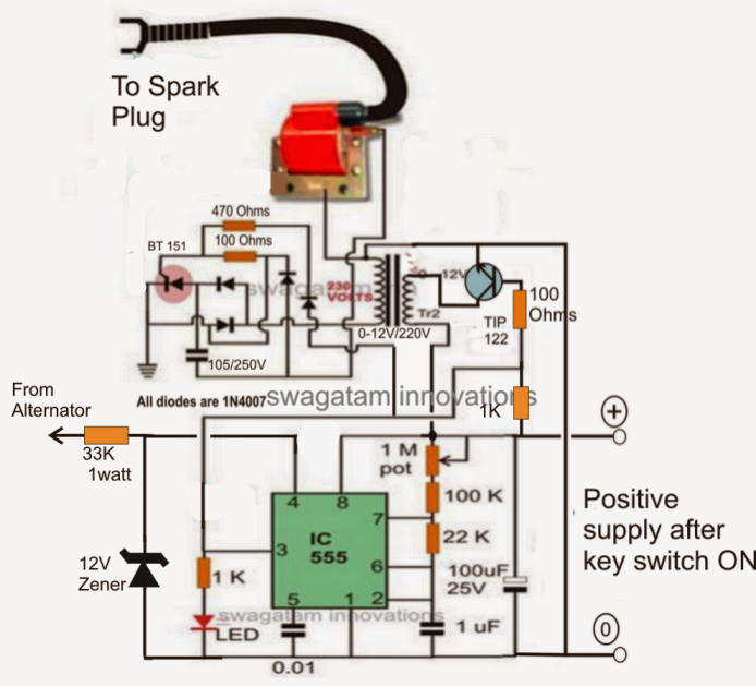 make this enhanced capacitive discharge ignition cdi circuit for use a 1k resistor at the base of tip122 100 ohm is incorrectly shown also remove the 1k resistor which goes to positive