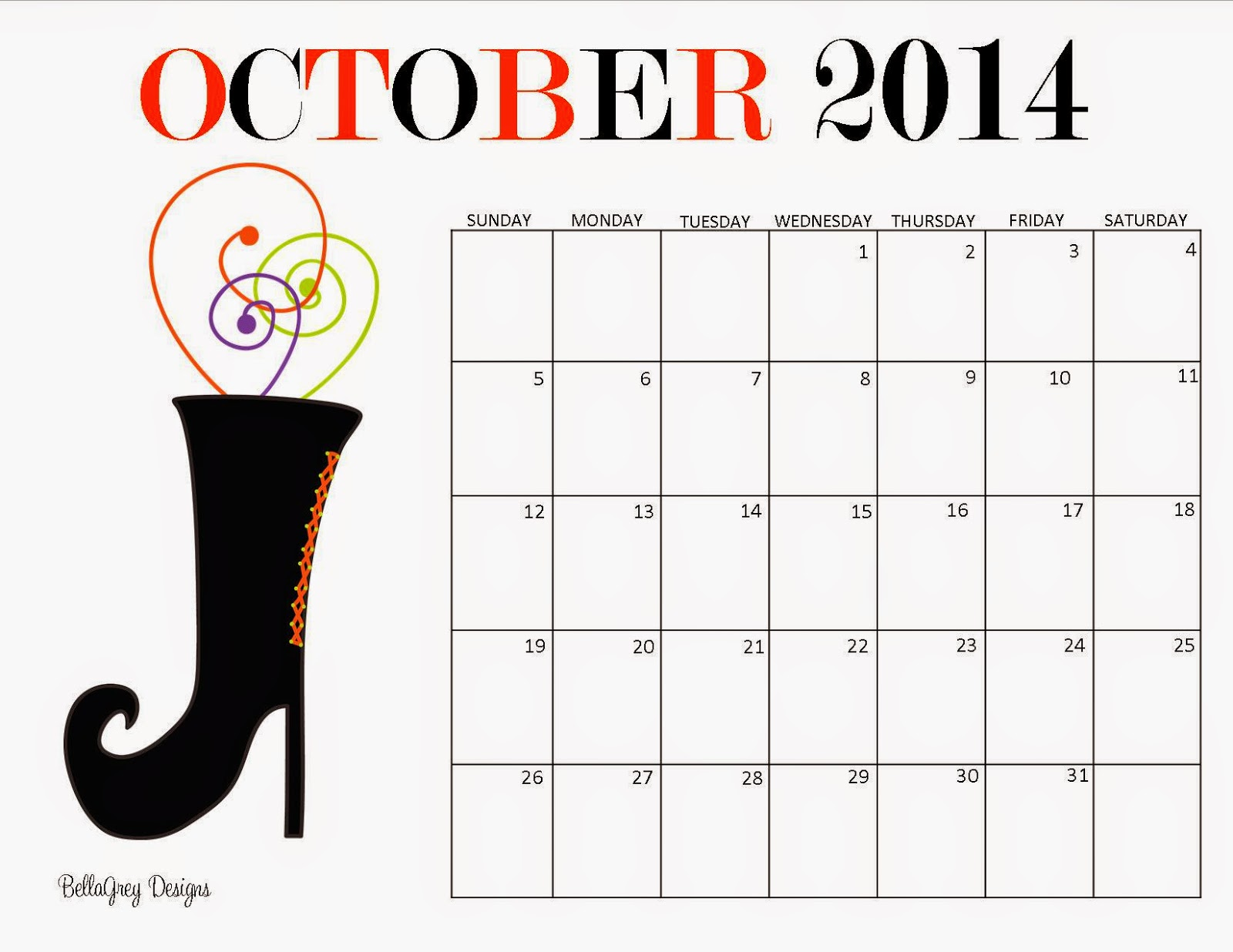 October 2014 calendar printable design