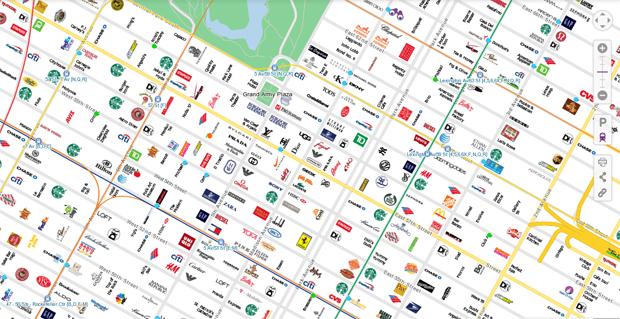 Mapas con logos de tiendas citymaps. New York, San Francisco y Austin