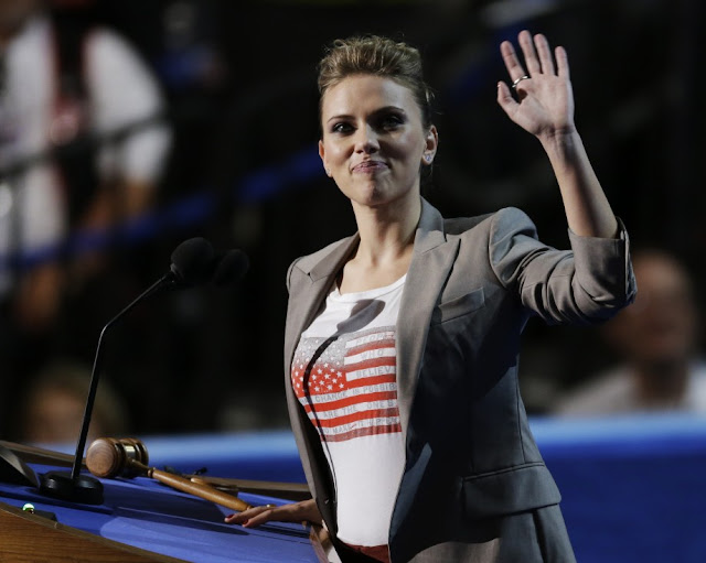 Actress Scarlett Johansson speaks to delegates at the Democratic National Convention.