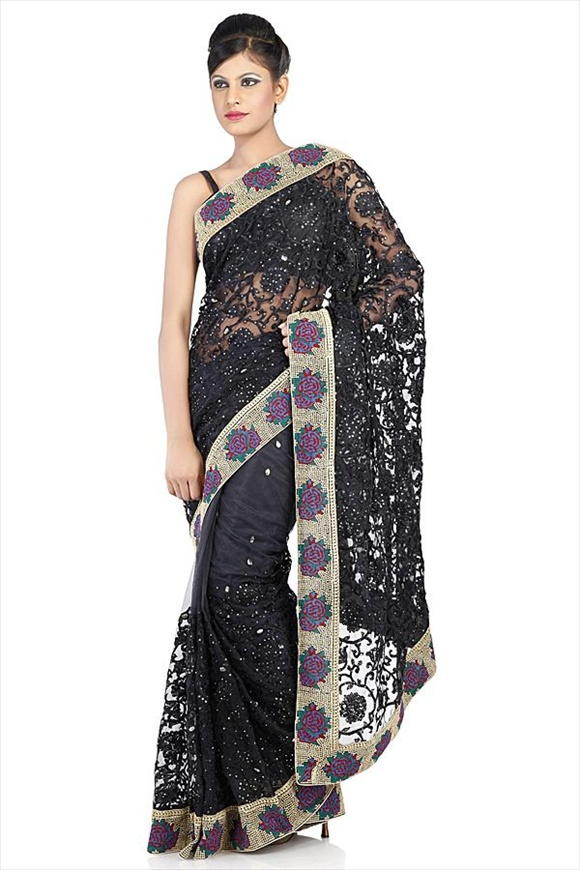 beautiful Black Net Saree