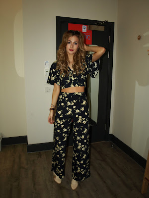Miss Selfridge navy blue and floral co-ord flared wide leg trousers and crop top