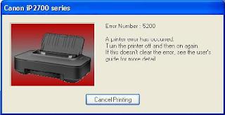 Cara mengatasi Error 5200 pada printer Ip2700