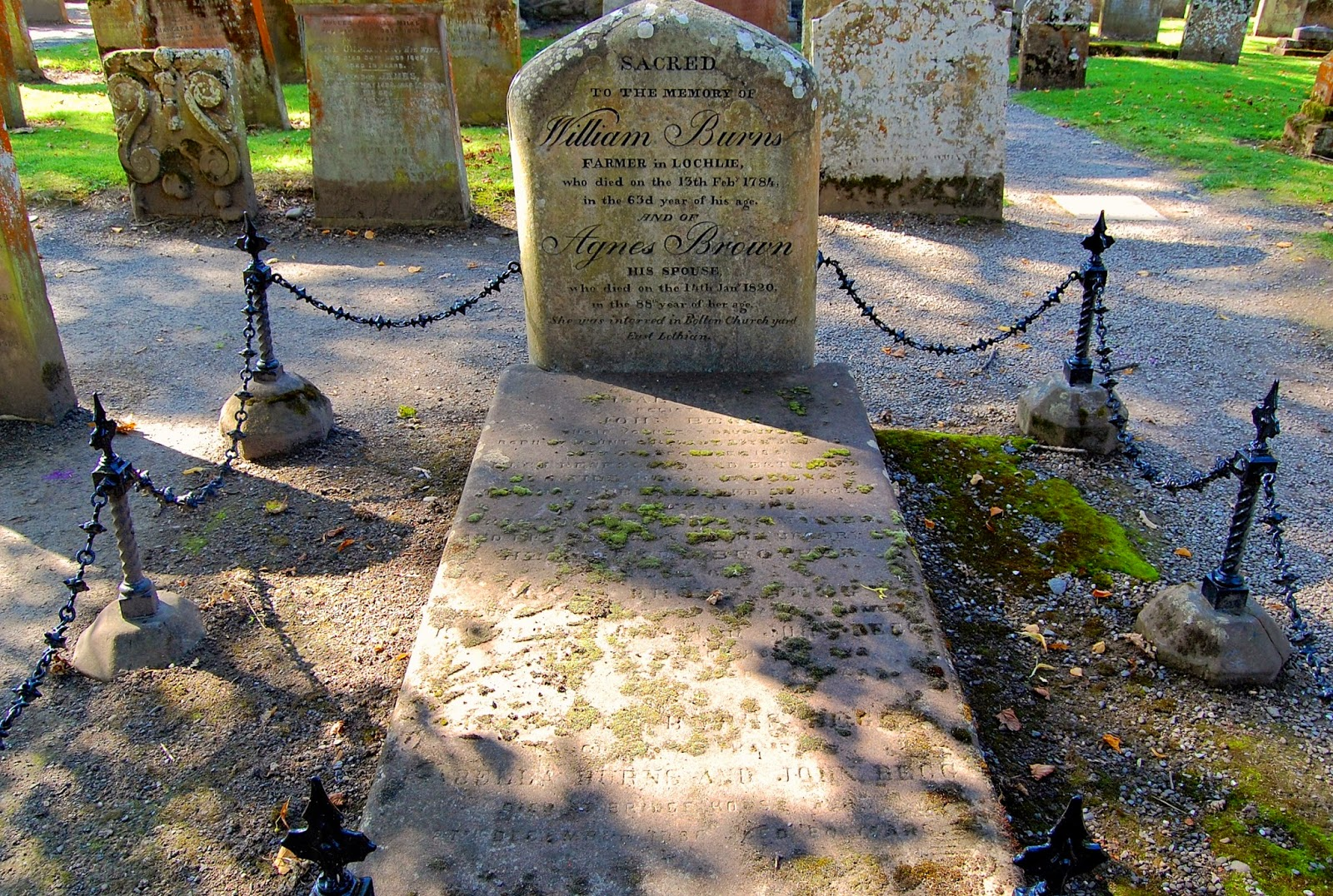 Burns' father's grave in auld Alloway kirk graveyard