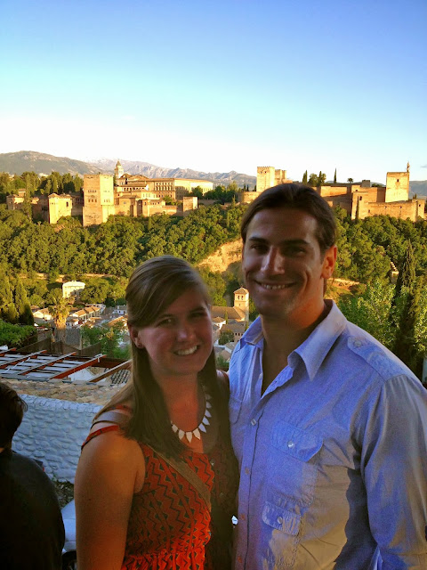In front of the Alhambra on Semi-Charmed Kind of Life