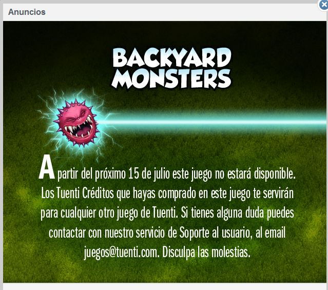 Backyard Monsters desaparece