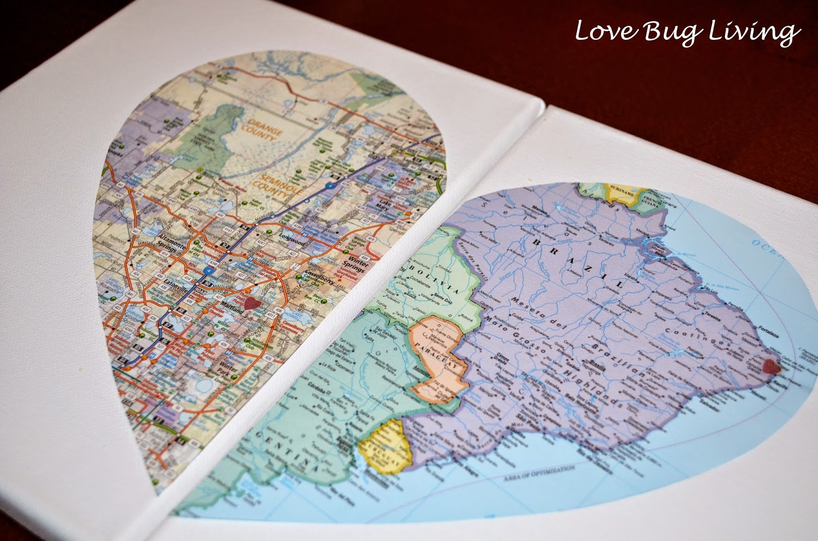 Love bug living hometown heart map canvas cut out both of your heart halves and place on your canvas you could mount them on one canvas but i chose to place them each on their own 8 x 10 gumiabroncs Image collections