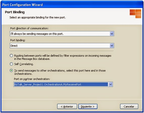 Configure BizTalk Direct Binding Partner Port - Step 6