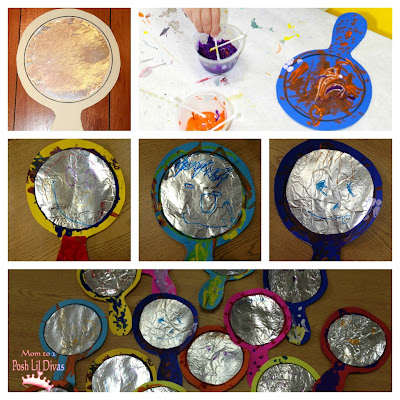 Foil art mirror craft for All about me toddler crafts