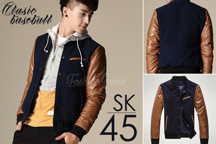 Jaket Baseball Korean Style Sk45 Fashion Cowok Jaket
