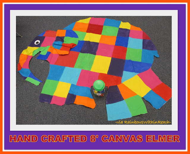 photo of: Teacher Created Monumental ELMER (painted on canvas + about 8' wide) via RainbowsWithinReach