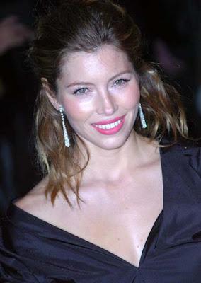 Jessica Biel Dangling Gemstone Earrings