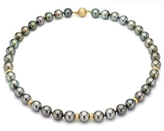14k Yellow Gold .25ctw Diamond 10-12mm Perfect Round Black South Sea Tahitian Pearl AAA Quality Necklace