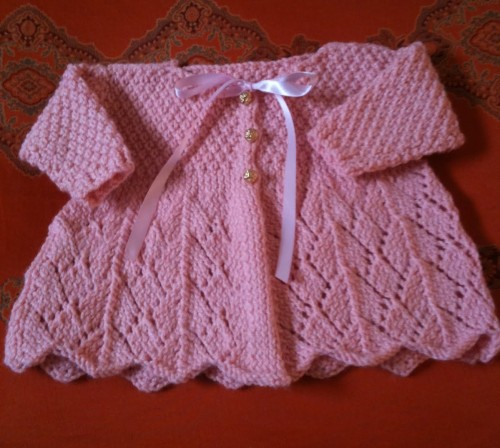 We Like Knitting Free Patterns : We like knitting lace knit baby sweater free pattern