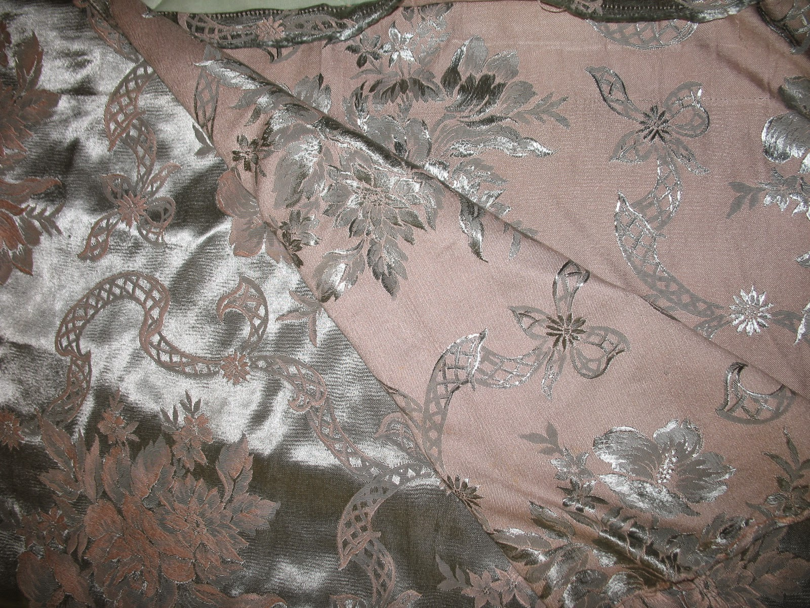 vintage 30s silver and pink satin damask