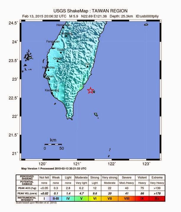 Epicentro sismo 6,2 grados en Taiwan, 14 de Febrero 2015