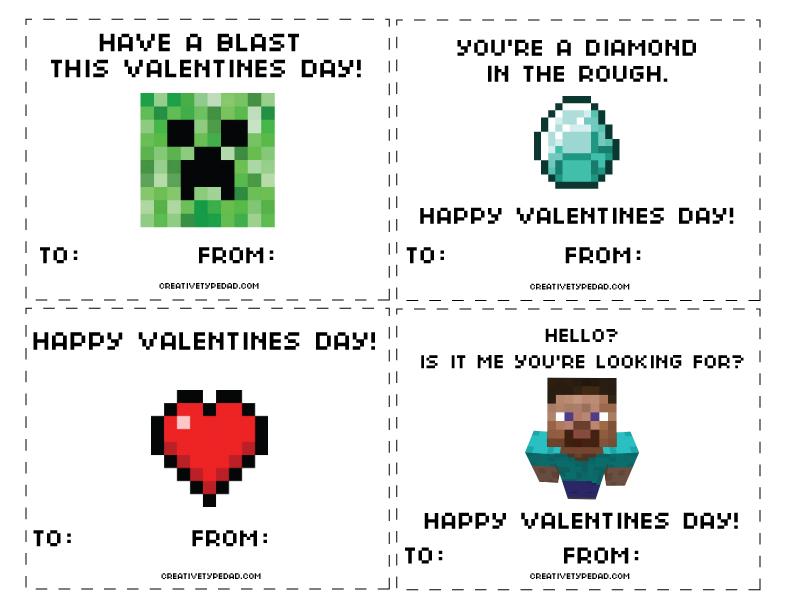 Creative Type Dad Free Minecraft Valentines