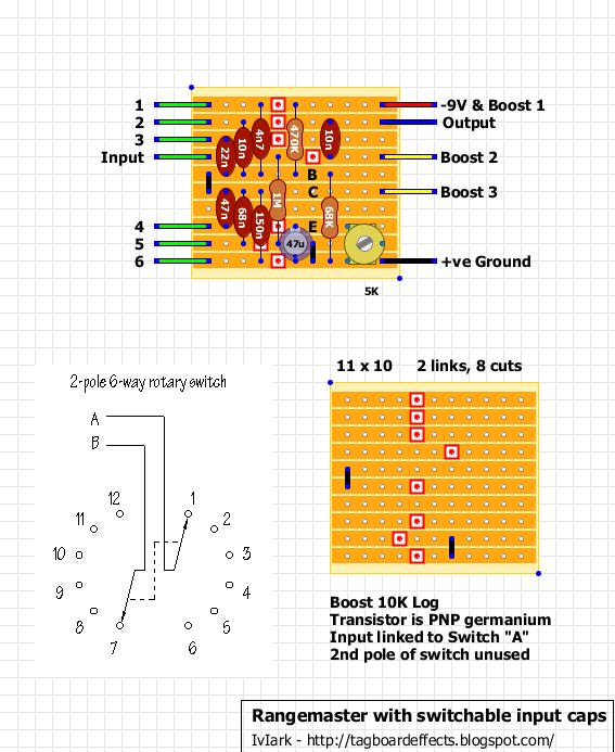Guitar FX Layouts: Rangemaster with switchable input caps on vintage hofner guitar schematic, bk drive pedal schematic, treble booster schematic, klon centaur schematic, dyson schematic,