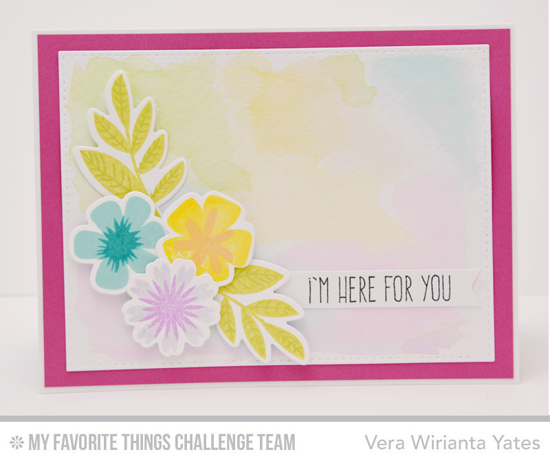 Here for You Card by Vera Wirianta Yates featuring the Modern Blooms stamp set and Die-namics and the Lisa Johnson Designs Whimsical Wishes stamp set #mftstamps
