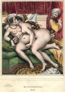 Две обнаженные девушки из султанского гарема занимаются лесбийской любовью под присмотром евнуха