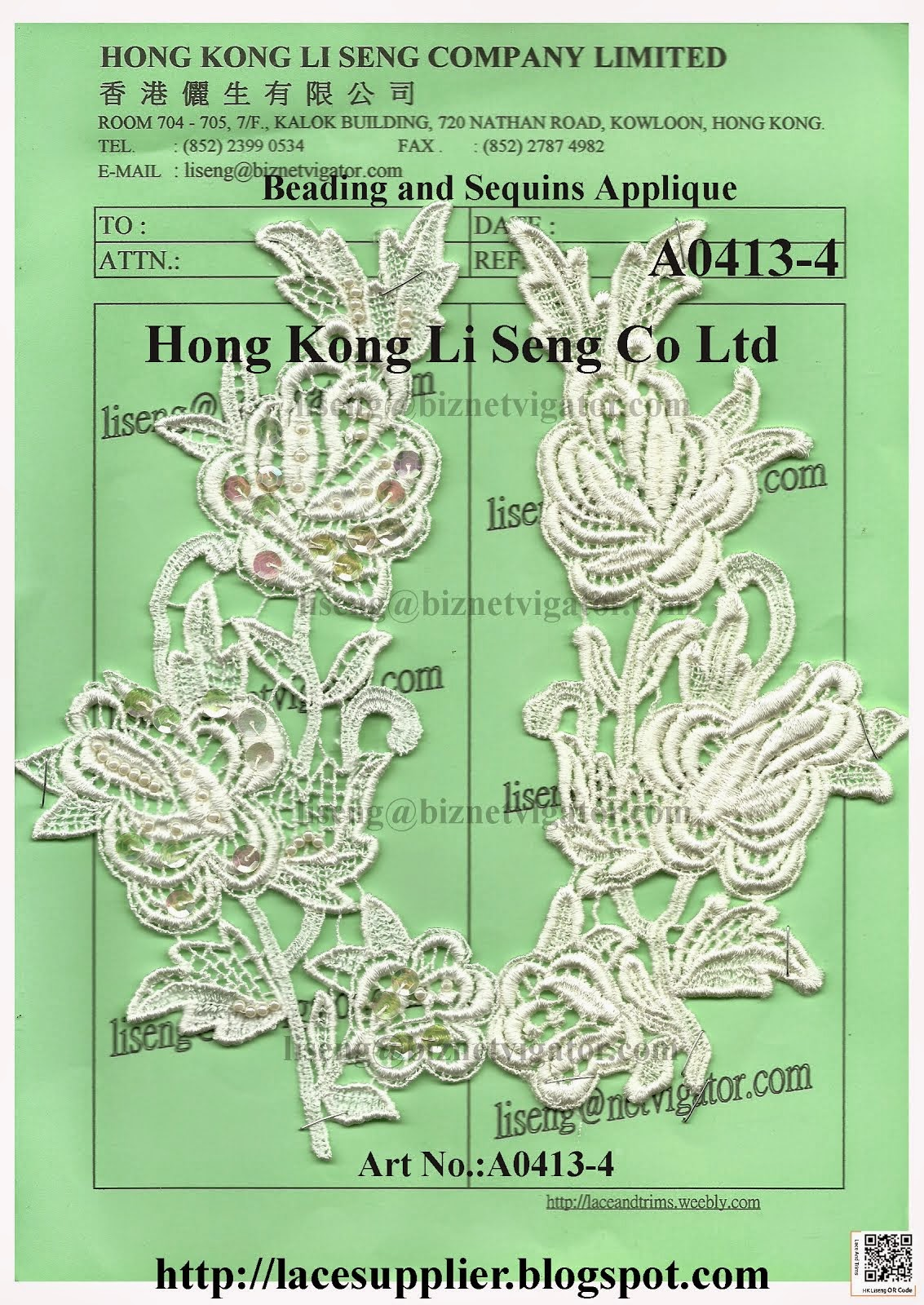 Beading and Sequins Applique Manufacturer Wholesale Supplier - Hong Kong Li Seng Co Ltd