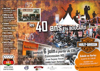 Affiche / invitation journée anniversaire concession Harley Davidson Saint-Herblain, concerts samedi 6 juin 2015