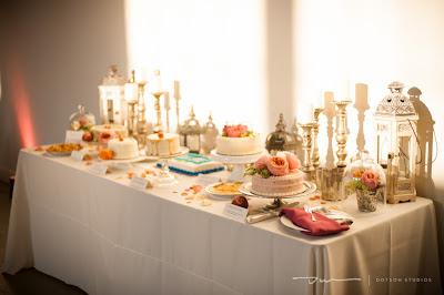 pink dessert bar, wedding cake, wedding desserts, wedding pies, lanterns