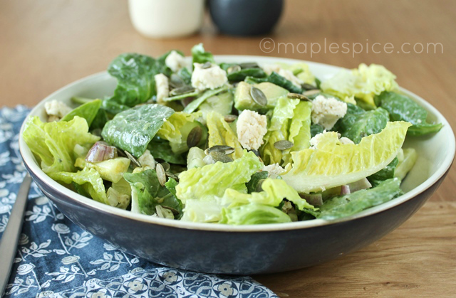 Baby Spinach, Romaine and Avocado Salad with Peppered Almond Feta, Pumpkin Seeds and a Creamy Lemon Mint Dressing