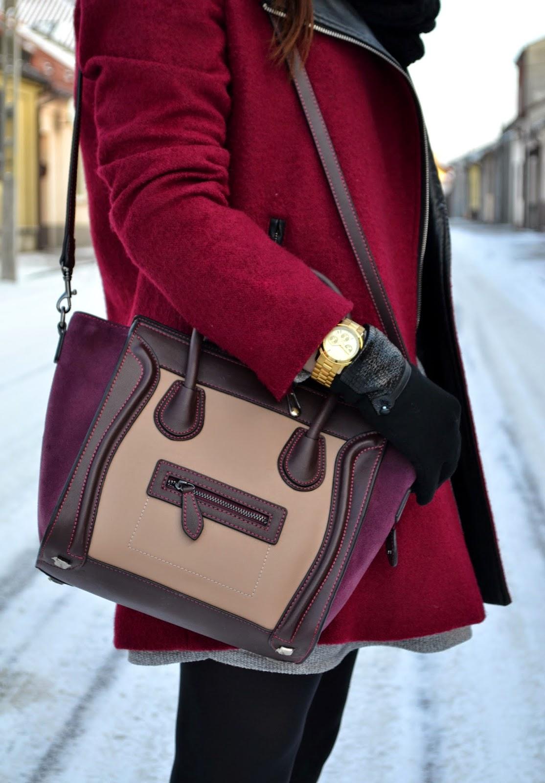 Michael Kors, Burgundowa torebka, bordowy płaszcz, marsala, zloty zegarek MK