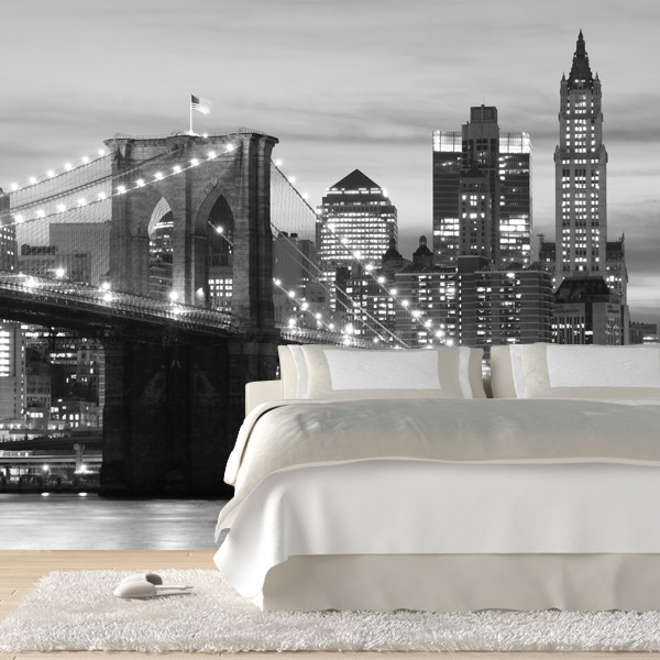 Black and white wall murals 2017 grasscloth wallpaper for Brooklyn bridge black and white wall mural