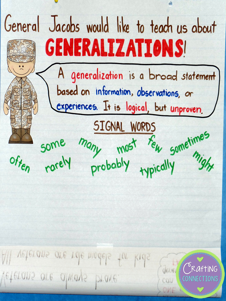 Generalizations Worksheet - Davezan