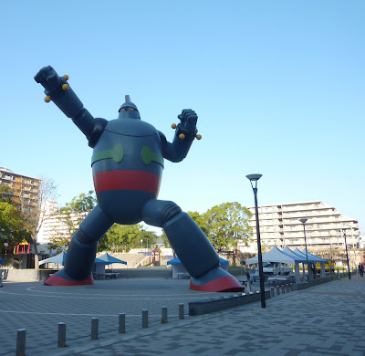 Giant 18 metre tall Tetsujin 28-Go (Gigantor) statue in the Nagata ward of Kobe