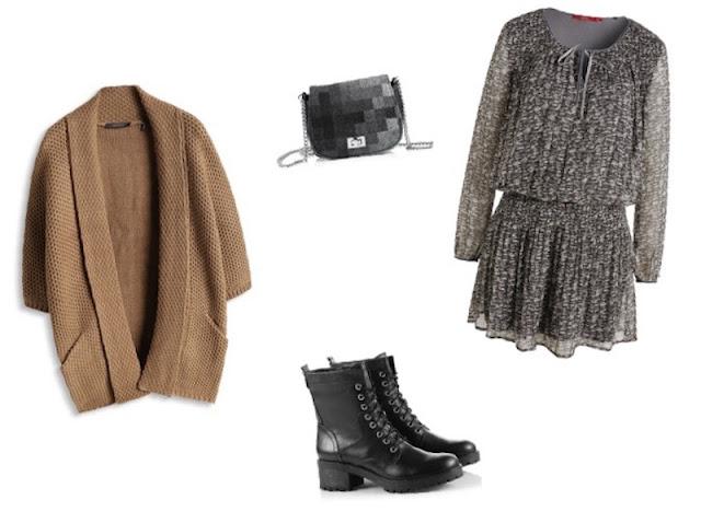 tenue robe, veste, bottines et sac ESPRIT