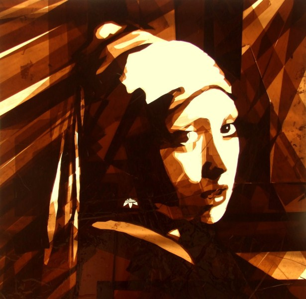 Max Zorn, artista de arte moderno co cinta adhesiva. Pinturas de street art