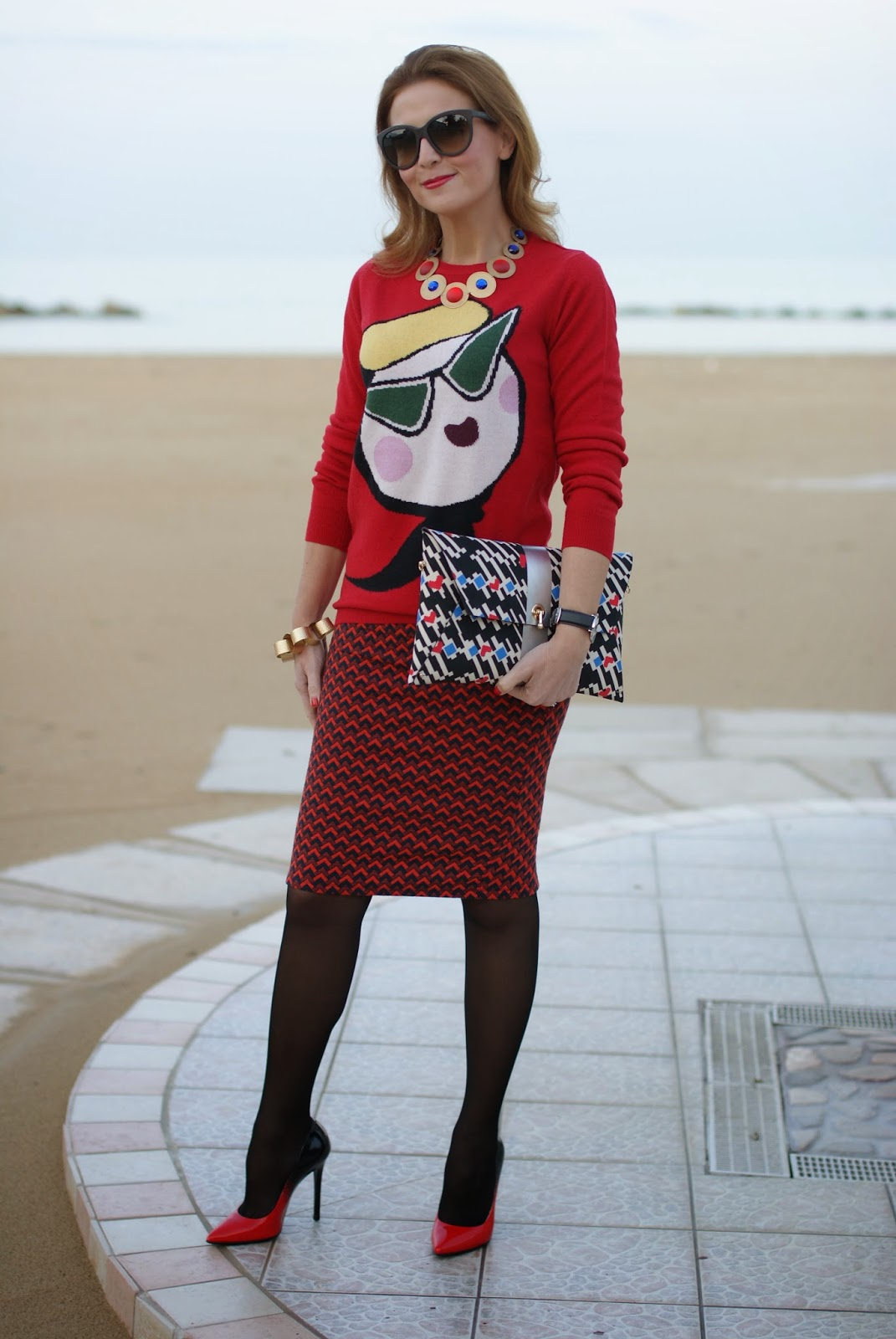 Love Moschino sweater, printed pencil skirt, heels worn with sheer stockings, Fashion and Cookies, fashion blogger
