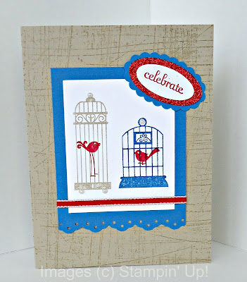 Aviary stamp set by Stampin' Up! with red Glimmer Paper