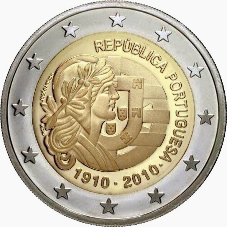 2 euro coin 2010, 100th anniversary of Republic Portugal