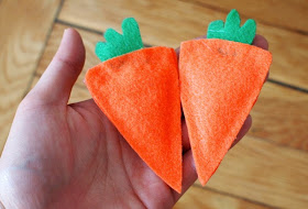 Two Felt Carrot Bean Bags