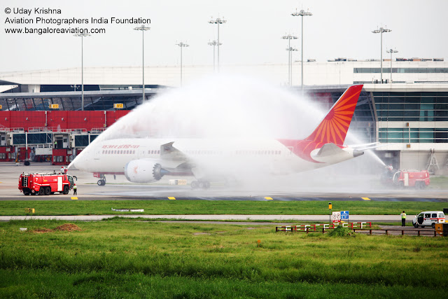 Air India First Boeing 787-8 Dreamliner VT-ANH arrives in New Delhi - water cannon salute