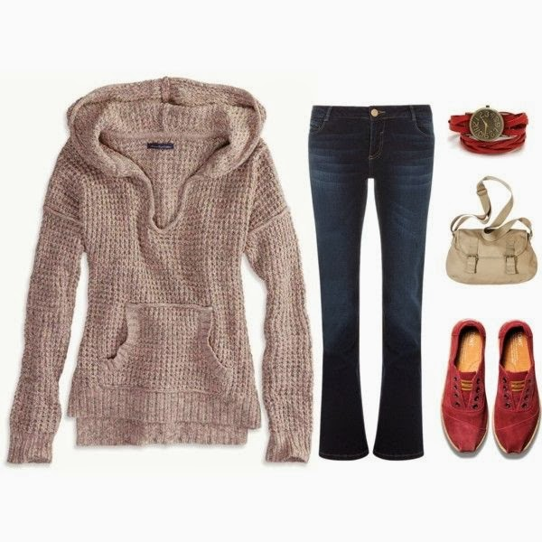 Adorable light brown cardigan, jeans, handbag and red shoes for fall